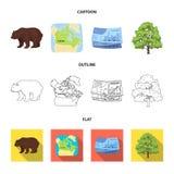 Dolar kanadyjski, terytorium mapa i inni symbole kraj, Kanada ustalone inkasowe ikony w kreskówce, kontur, mieszkanie Obraz Royalty Free