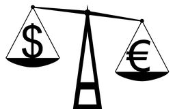 dolar kontra euro Fotografia Stock