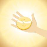 Dolar moneta w ręce Obraz Stock
