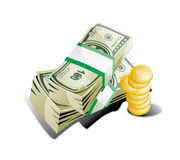 Dolar pengar och mynt Fotografering för Bildbyråer