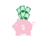 Dolar and pink piggy bank on a white background Stock Images
