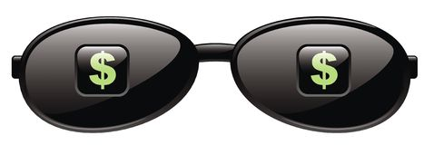 dolar podpisuje okulary przeciwsłoneczne Zdjęcie Royalty Free