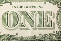 dolar rachunki jeden obraz makro Zdjęcia Royalty Free