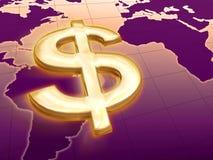 Dolar rule the world. 3d golden dollar over violet world map Stock Photos
