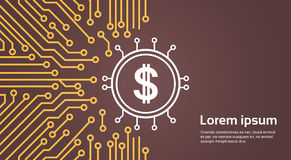 Dolar Sign Over Computer Chip Moterboard Backgroung Network Data Center System Concept Banner Stock Photos