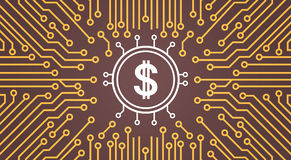 Dolar Sign Over Computer Chip Moterboard Backgroung Network Data Center System Concept Banner Royalty Free Stock Image