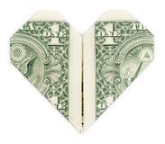 Dolar składał w serce Obraz Royalty Free
