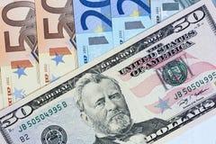 Dolar sobre concepto euro Foto de archivo libre de regalías