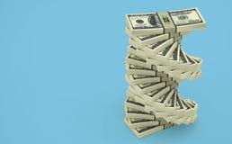 Dolar spirala - spirala robić z 100 Dolarowych banknotów fotografia stock