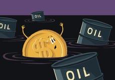 Dolar tonie w ropach naftowych Moneta z dolarowym znakiem i baryła ropy naftowej w rozlewającym oleju Zdjęcia Stock