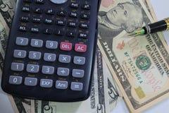 Dolar, waluta, waluta, wymiana, kalkulator, finanse deponuje pieniądze, pieniężny, gospodarka, Zdjęcia Stock