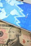 Dolar, waluta, waluta, wymiana, kalkulator, finanse deponuje pieniądze, pieniężny, gospodarka, Fotografia Stock