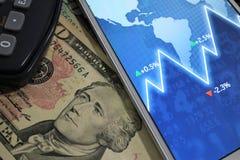 Dolar, waluta, waluta, wymiana, kalkulator, finanse deponuje pieniądze, pieniężny, gospodarka, Zdjęcia Royalty Free