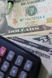 Dolar, waluta, waluta, wymiana, kalkulator, finanse deponuje pieniądze, pieniężny, gospodarka, Obraz Stock