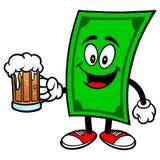Dolar z piwem Obrazy Royalty Free