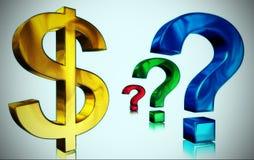 Dolar z pytaniem Obrazy Royalty Free