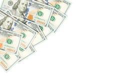 dolara amerykańskiego pieniądze gotówki waluty tło Amerykańscy dolary 100 banknot granicy na bielu obraz stock