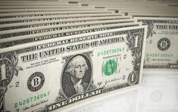 1 dolara banknoty Zdjęcia Stock