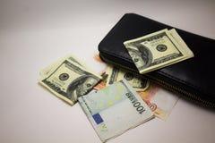 Dolara i euro notatki na białym tle obraz stock
