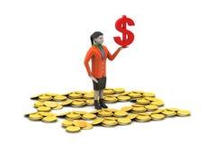Dolarowa i złocista moneta z kobiety inwestyci pojęciem ilustracji