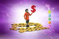 Dolarowa i złocista moneta z kobiety inwestyci pojęciem royalty ilustracja