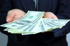 dolarowa rachunek ręka obraz stock