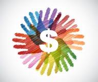 dolarowa waluta nad różnorodność ręk okręgiem ilustracji