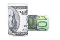 dolarowe euro rolki Zdjęcia Stock