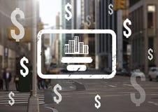 Dolarowe ikony nad miastem Obraz Stock