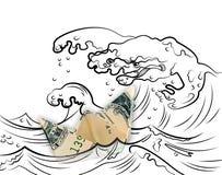 Dolarowego origami łódkowaci pławiki zdala od doodle potwora szaleją wa Obrazy Royalty Free