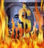 dolarowego rachunku i ogienia płomienie obrazy royalty free