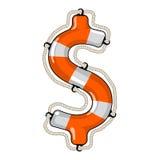 Dolarowego znaka odosobniony lifebuoy Obrazy Royalty Free