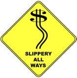 dolarowego znaka ruch drogowy ostrzeżenie Zdjęcia Stock
