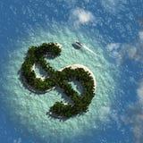 Dolarowego znaka wyspa ilustracja wektor