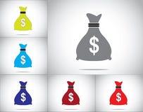 Dolarowej pieniądze torby ikony pojęcia projekta ilustraci ustalona sztuka Obraz Royalty Free