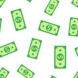 Dolarowej waluta banknotu ikony bezszwowy deseniowy tło Dolar gotówkowa wektorowa ilustracja Banknotu rachunku symbolu wzór ilustracji