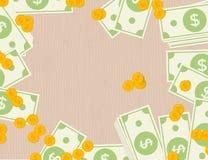 Dolarowi banknoty i monety na drewnianym tle Płaski projekt Zdjęcia Royalty Free
