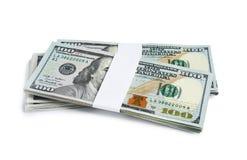 Dolarowi banknoty na białym tle amerykańska waluty ćwierć odizolowane white obraz royalty free