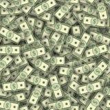 Dolarowi banknoty wypiętrzają bezszwową teksturę Fotografia Stock