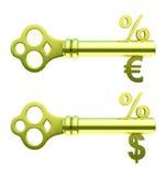dolarowi euro złoci kluczy procentu symbole Zdjęcia Royalty Free