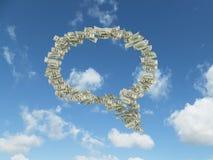 Dolarowi rachunki w formularzowym myśli pudełku fotografia stock