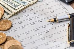 Dolarowi rachunki z biznesowymi dokumentami, piórem i kalkulatorem, Zdjęcia Royalty Free