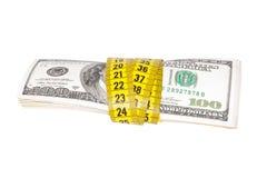 Dolarowy banknot i miara taśmy Fotografia Royalty Free