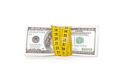 Dolarowy banknot i miara taśmy Obraz Royalty Free