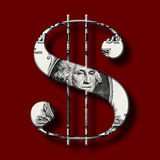 Dolarowy banknot na Dolarowym symbolu Fotografia Stock