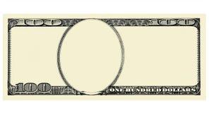 100 Dolarowy Bill przód z copyspace, odizolowywającym dla projekta Zdjęcie Royalty Free