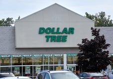 Dolarowy Drzewny sklep i znak Fotografia Royalty Free