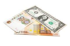 Dolarowy euro Juan trójbok fotografia royalty free
