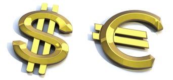 dolarowy euro złoto Fotografia Royalty Free