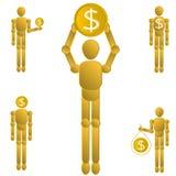 Dolarowy Menniczego złota manikin set royalty ilustracja